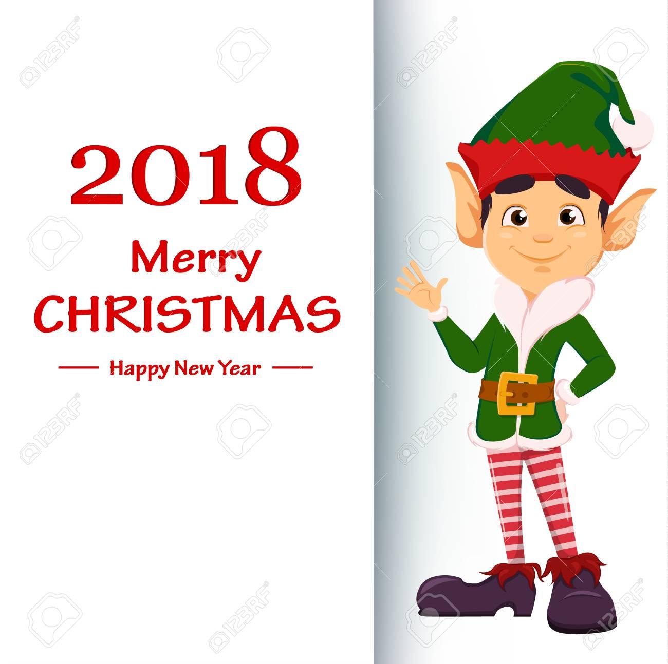 Frohe Weihnachten Und Ein Glückliches Neues Jahr. Elf, Der Auf ...