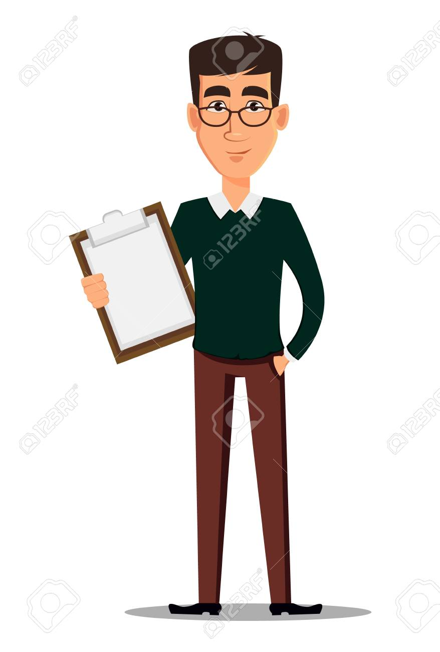 18682568741 Business man cartoon character. Young handsome smiling businessman in smart  casual clothes holding clipboard.
