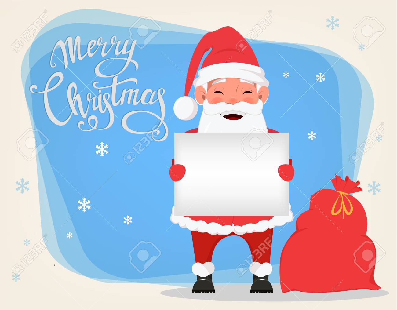 Merry Christmas And A Happy New Year Greeting Card With Smiling