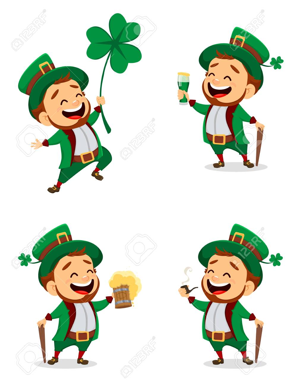 Happy Saint Patrick S Day Character With Green Hat Set Of Cartoon