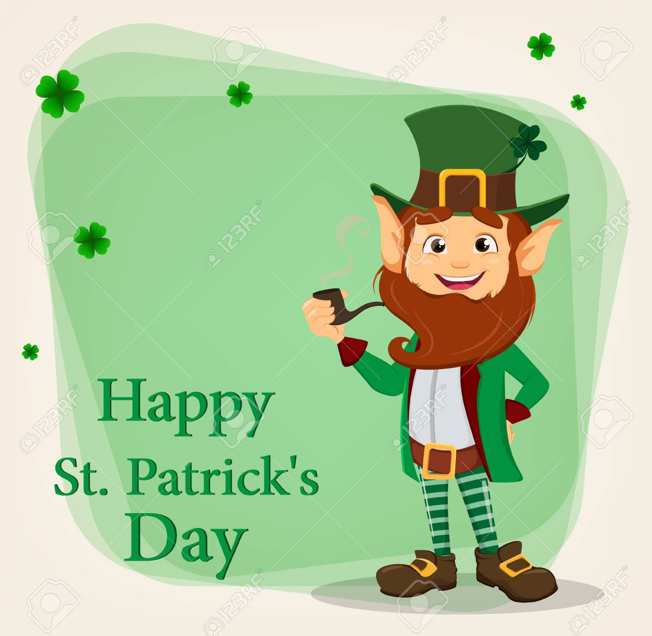 Happy Saint Patrick S Day Character With Green Hat Cartoon