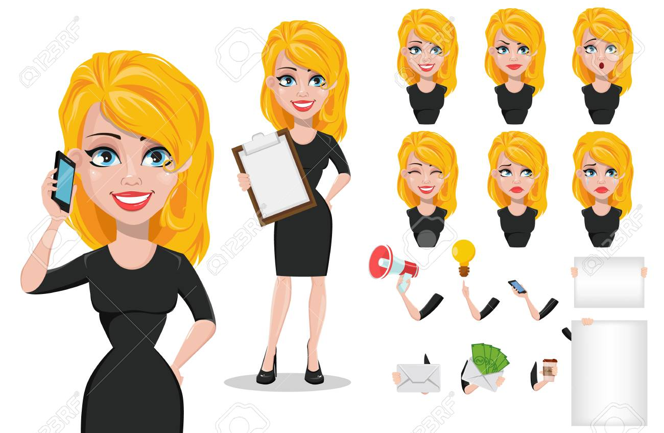 Business Woman Cartoon Character Creation Set Young Beautiful Royalty Free Cliparts Vectors And Stock Illustration Image 97310917