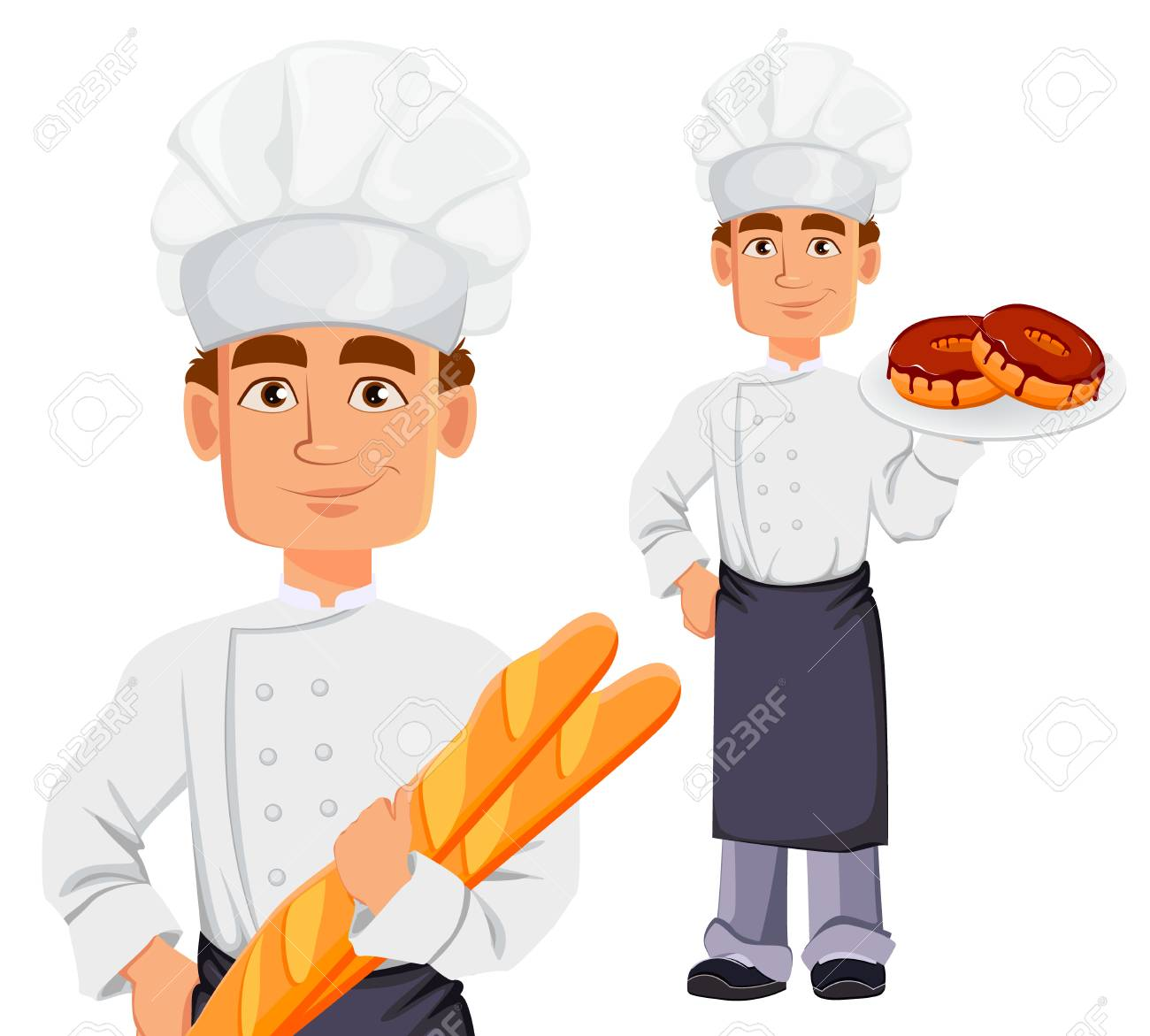 Handsome baker in professional uniform and chef hat, set. Cheerful cartoon character holding baguette and holding donuts. Vector illustration on white background. - 102420118