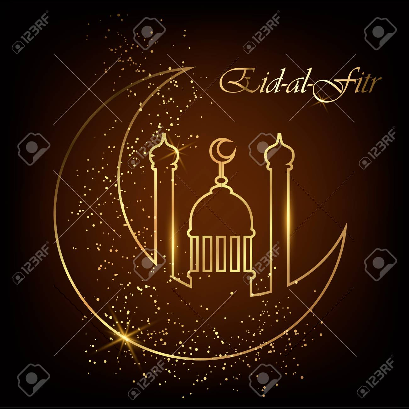 Eid al fitr greeting card with line mosque dome moon and golden eid al fitr greeting card with line mosque dome moon and golden sand eid m4hsunfo