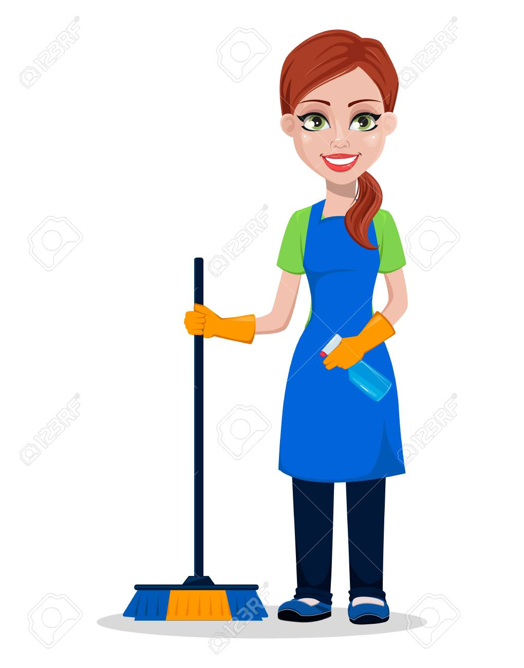 Cleaning company staff in uniform. Woman cartoon character cleaner holding brush and sprayer. Vector illustration. - 103283156