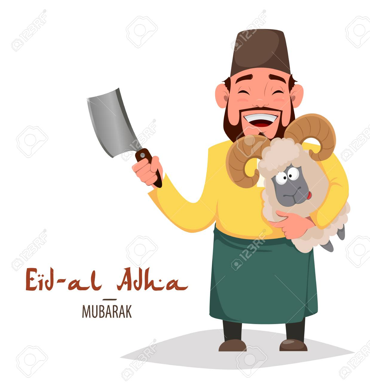 Muslim Traditional Holiday Eid Al Adha Sacrifice A Ram Greeting