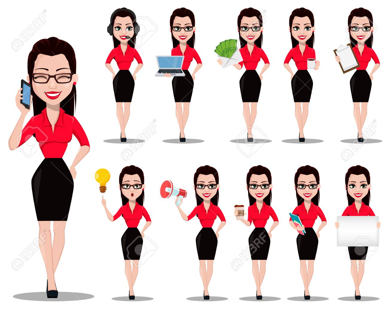 Sexy secretary. Beautiful office assistant in office style clothes, set of eleven poses. Vector illustration on white background - 106878587