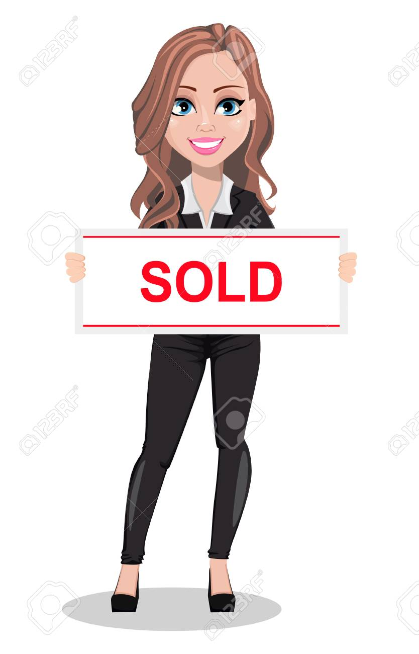 A Real Estate Agent Cartoon Character Beautiful Realtor Woman Royalty Free Cliparts Vectors And Stock Illustration Image 106878649