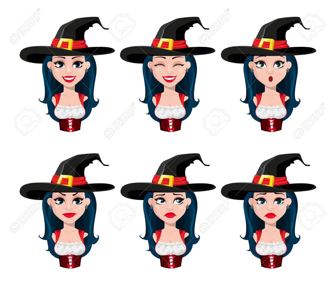 Halloween Cartoon Witch Face.Happy Halloween Face Expressions Of Sexy Witch In Beautiful