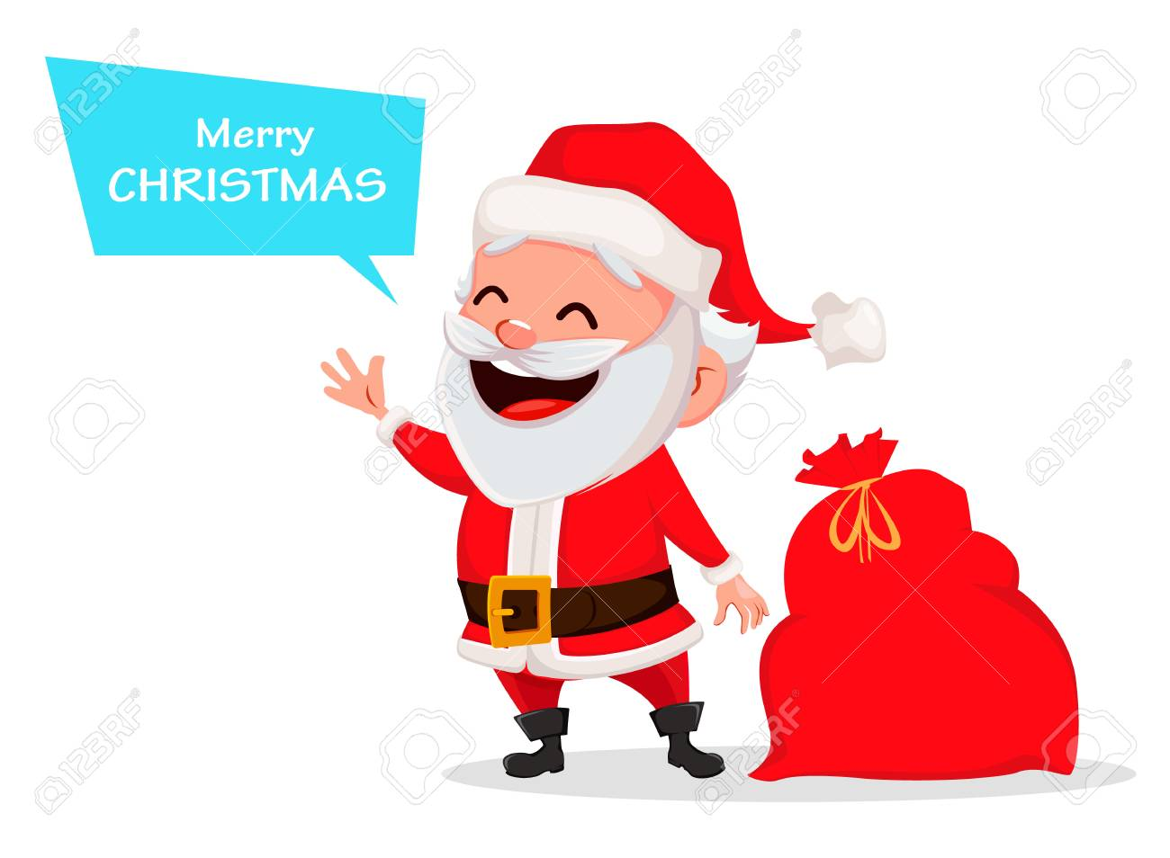 Merry Christmas Funny Images.Merry Christmas Funny Santa Claus Cheerful Cartoon Character