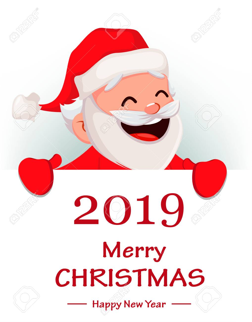 Merry christmas funny santa claus cheerful cartoon character merry christmas funny santa claus cheerful cartoon character holding big placard with greetings m4hsunfo