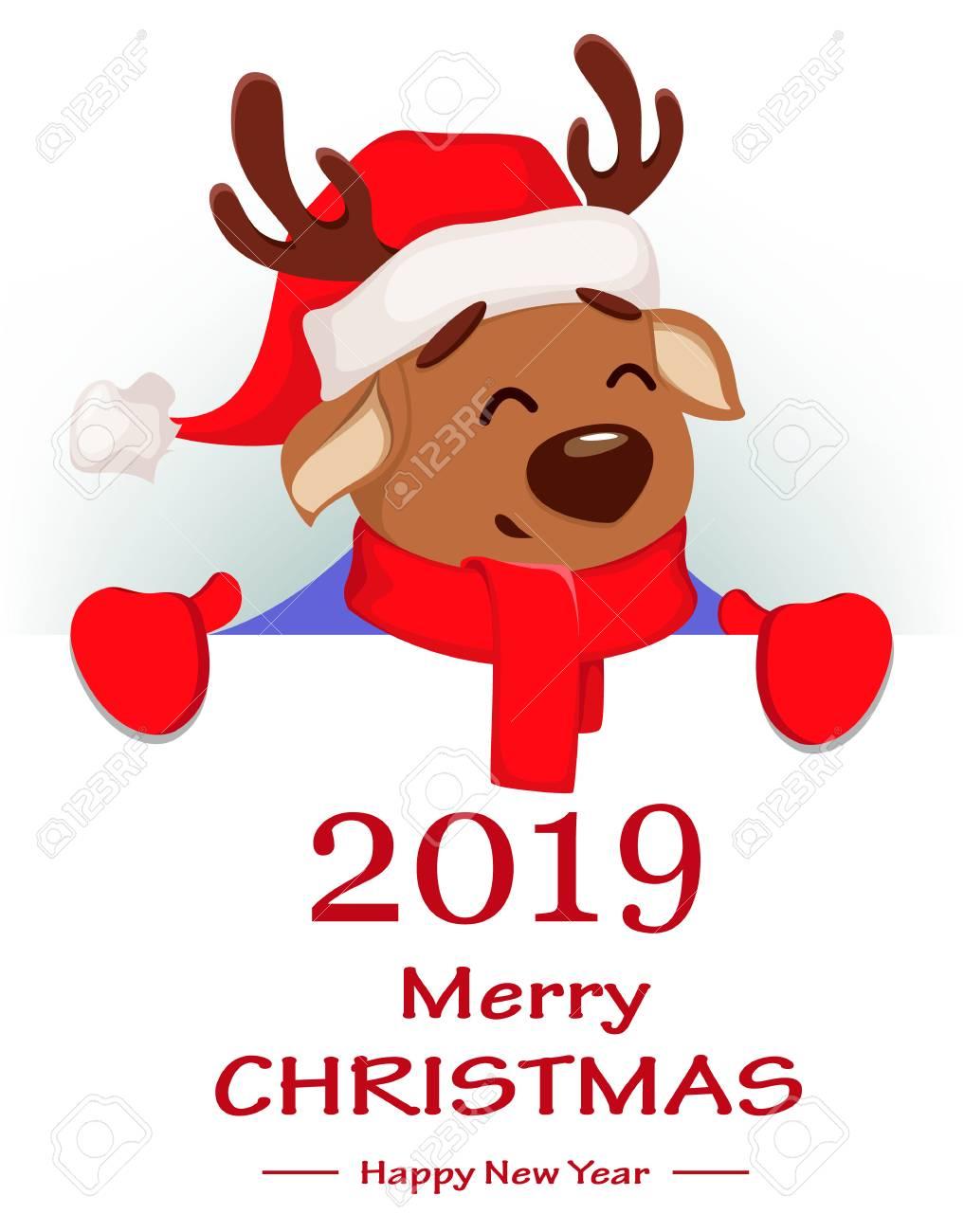 968d6093c37da Merry Christmas. Cute deer wearing Santa Claus hat and scarf. Cheerful funny  cartoon character