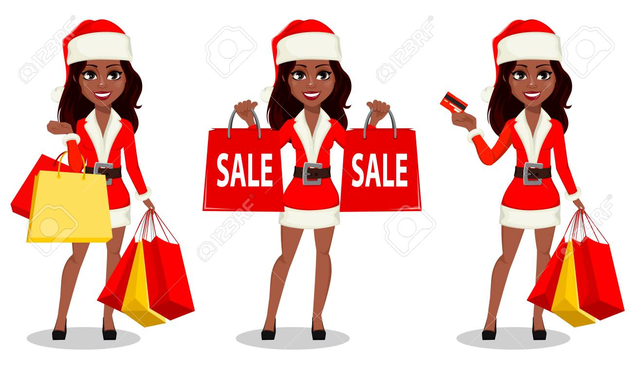 merry christmas and happy new year african american woman in santa claus costume