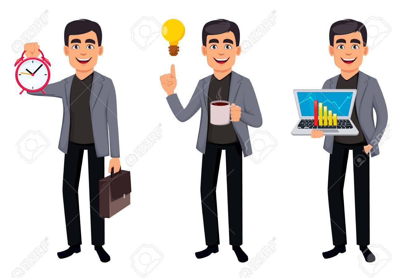 Business man cartoon character, set three poses. Handsome businessman holding alarm clock, holding laptop and having a good idea. Vector illustration - 125184505