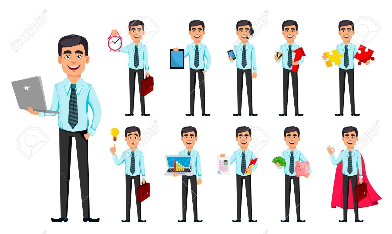 Business man, set of eleven poses. Cartoon character with different things. Concept of young handsome smiling businessman in office style clothes - stock vector - 122914445