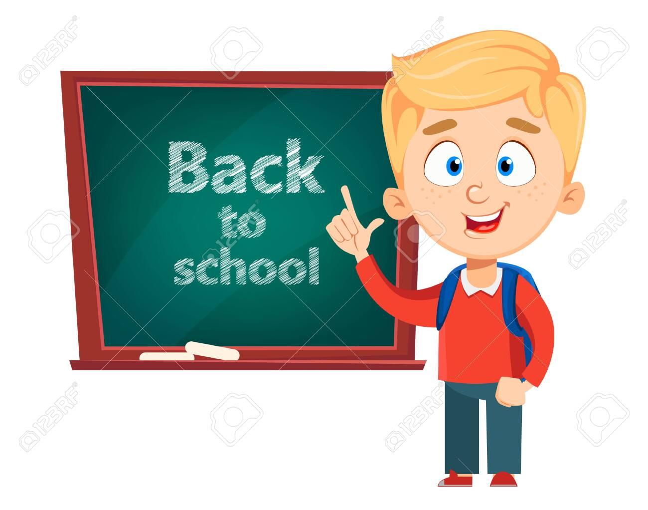 Back to school. Cute schoolboy standing near blackboard. Funny kid cartoon character. Vector illustration. - 128232091