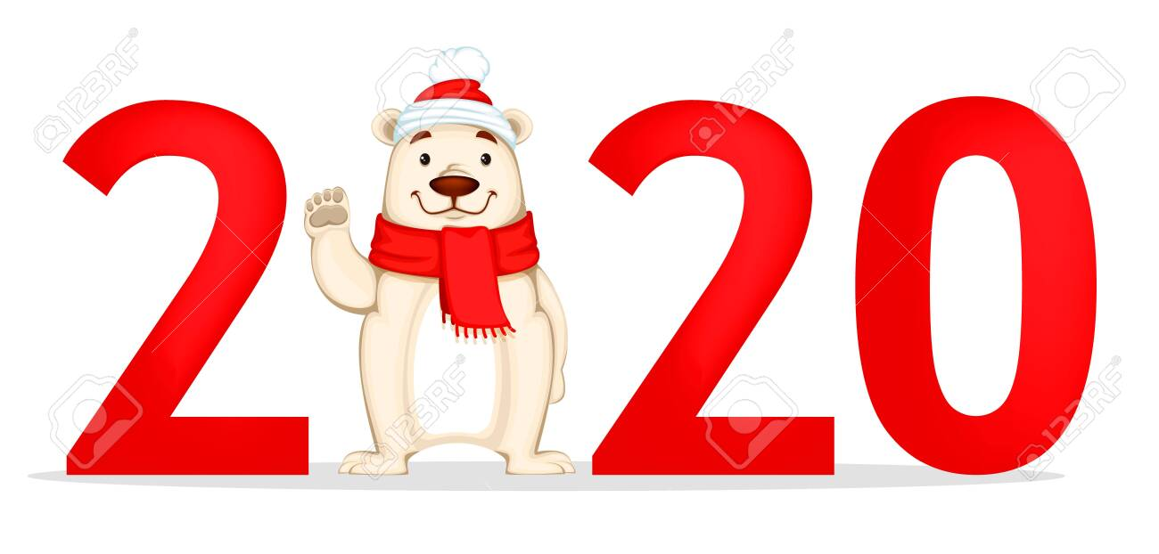 Happy New Year 2020 Funny.Happy New Year Greeting Card With Number 2020 And Funny Polar