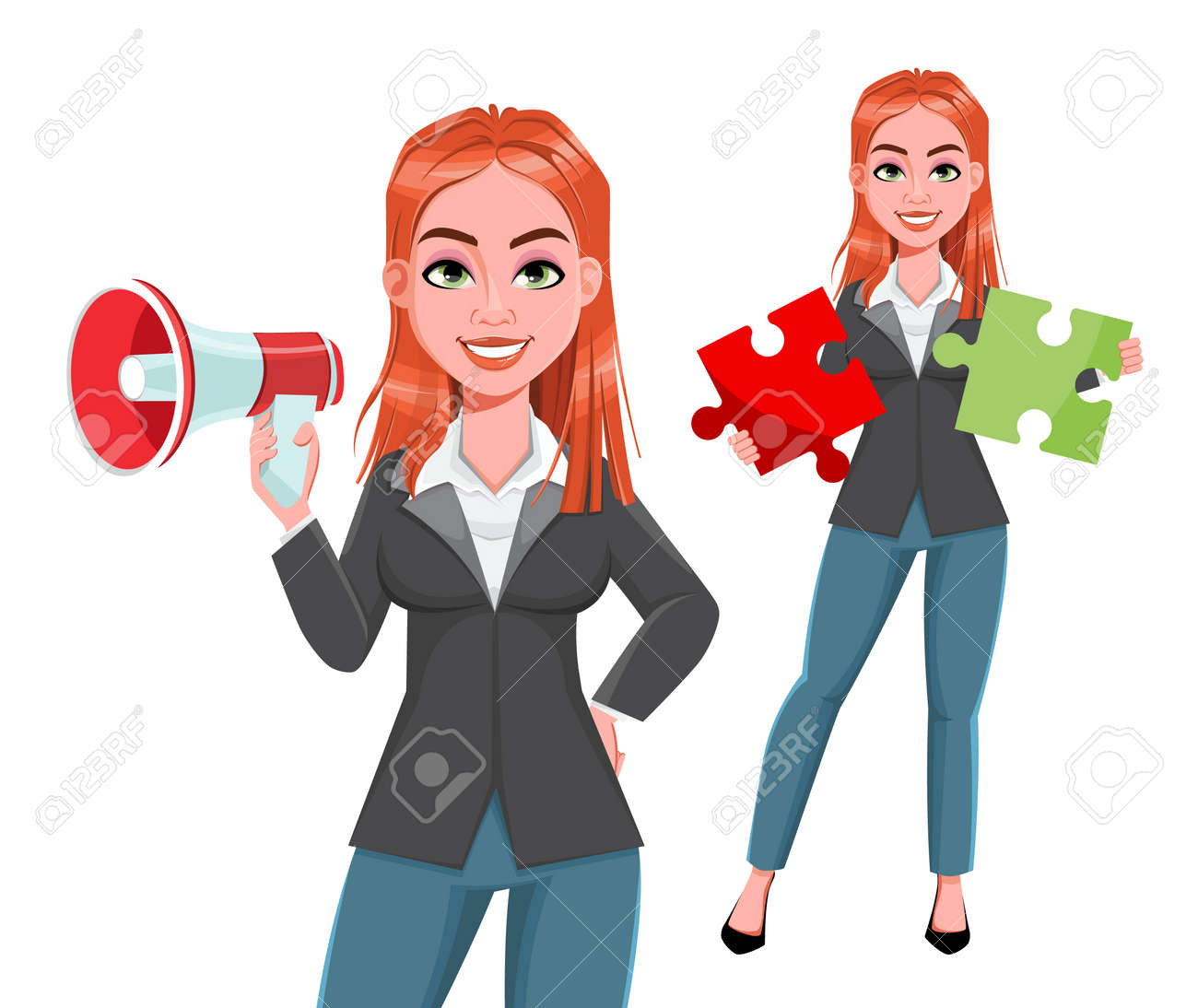 Beautiful business woman, set of two poses. Cheerful businesswoman cartoon character. Stock vector illustration on white background - 168196123