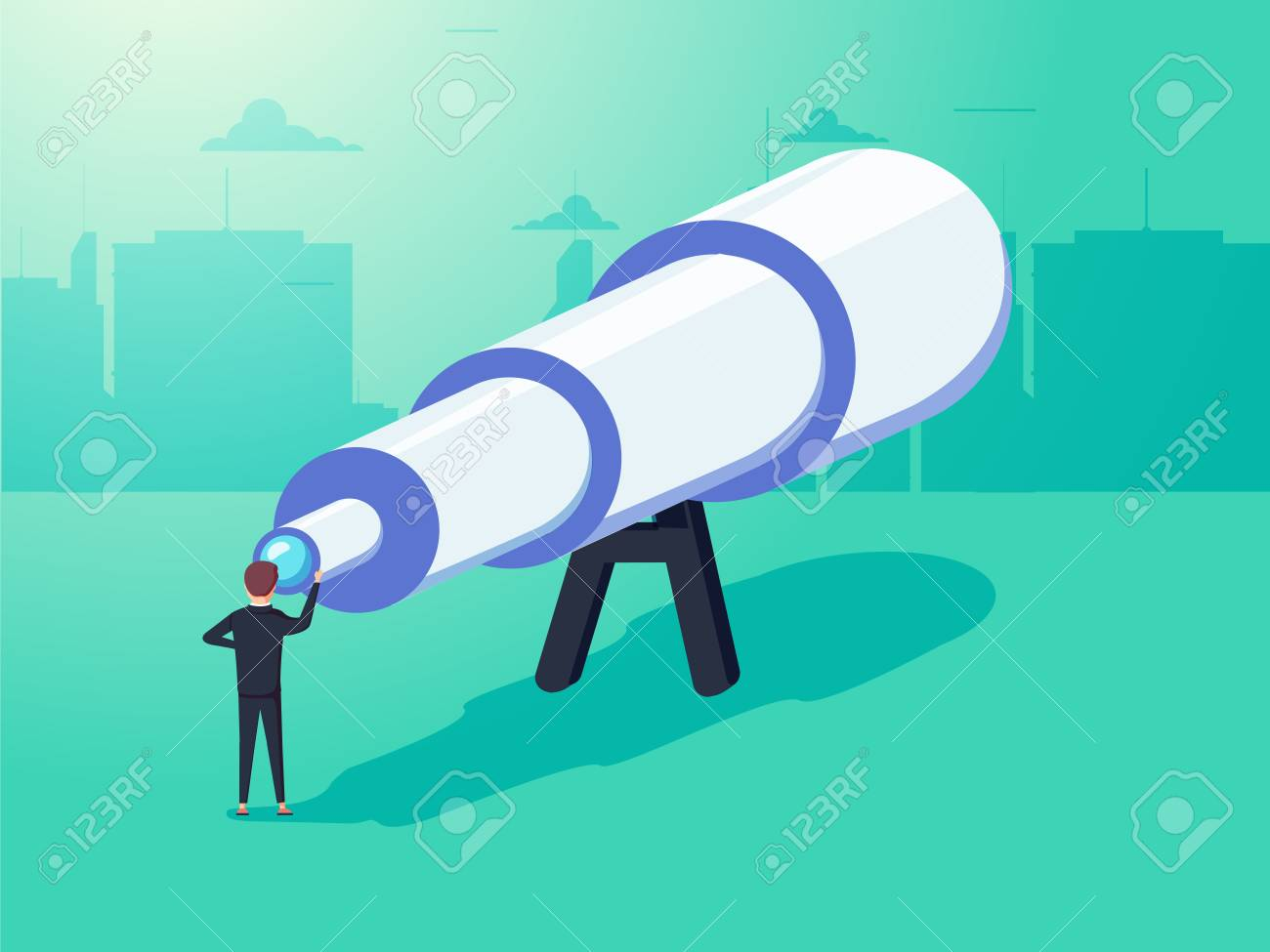 Vision concept in business with vector icon of businessman and