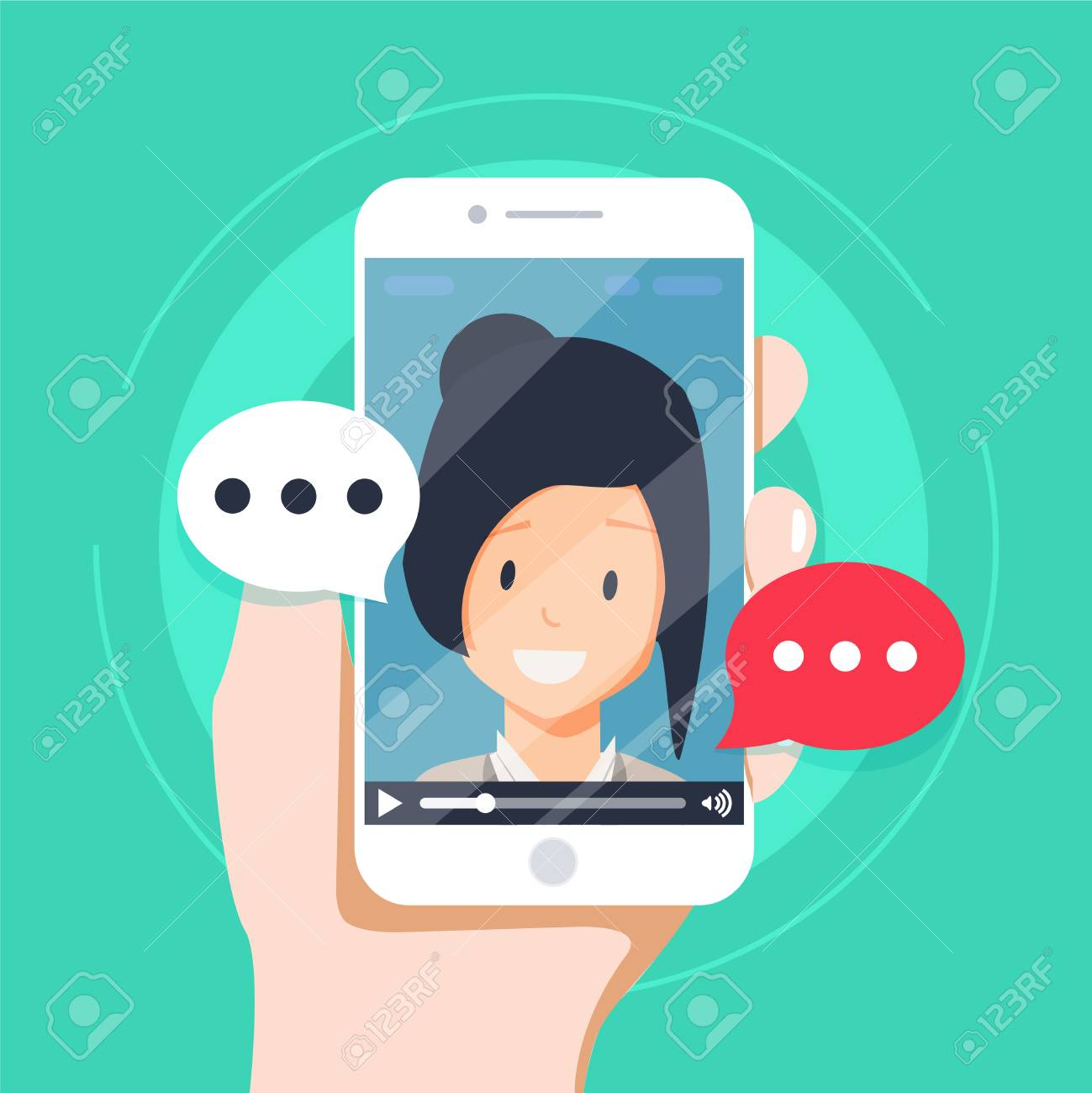Video Chatting Online On Smartphone Vector Illustration Flat