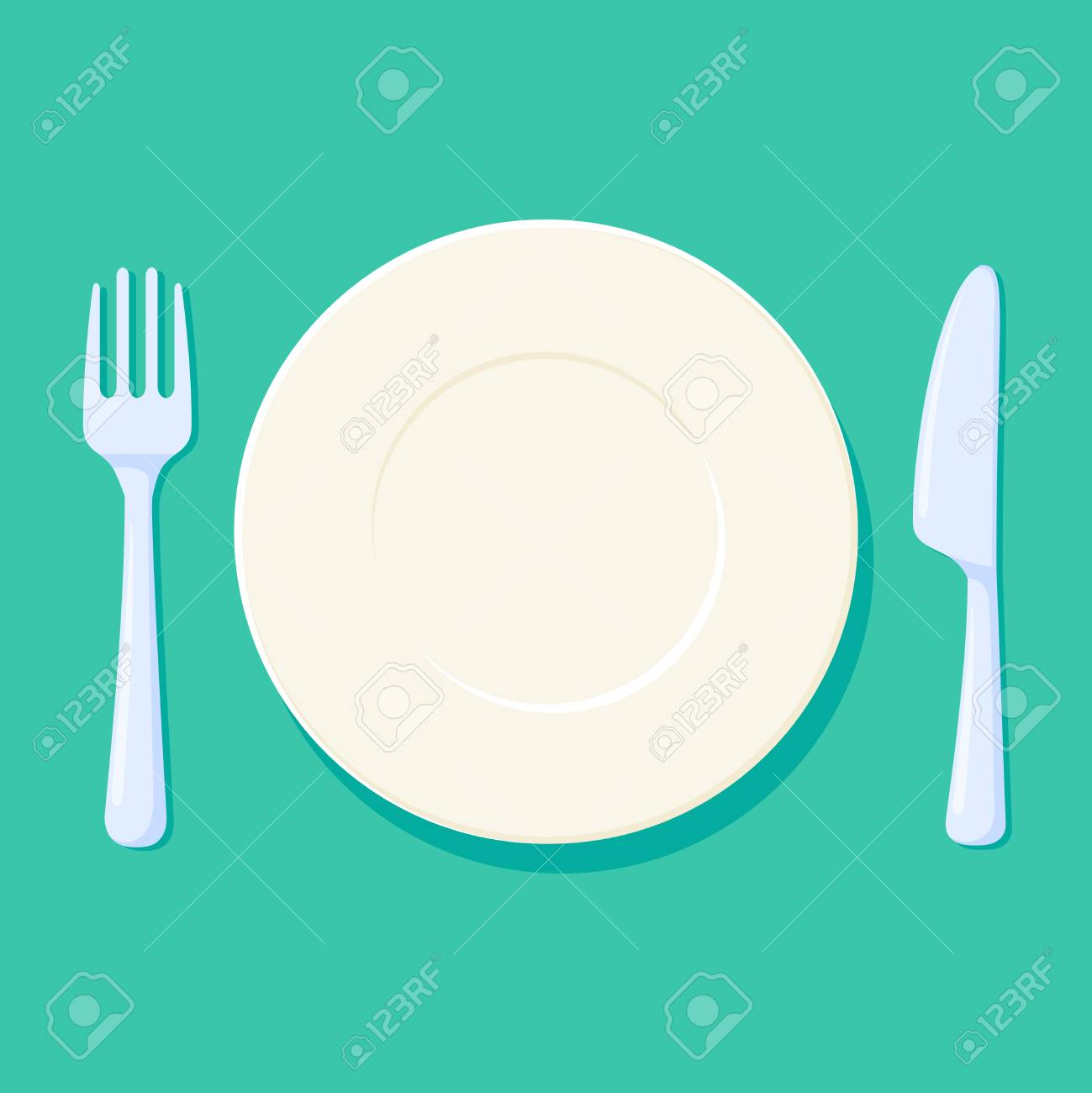 Plate, Fork And Knife Vector Illustration. Place Setting With ...