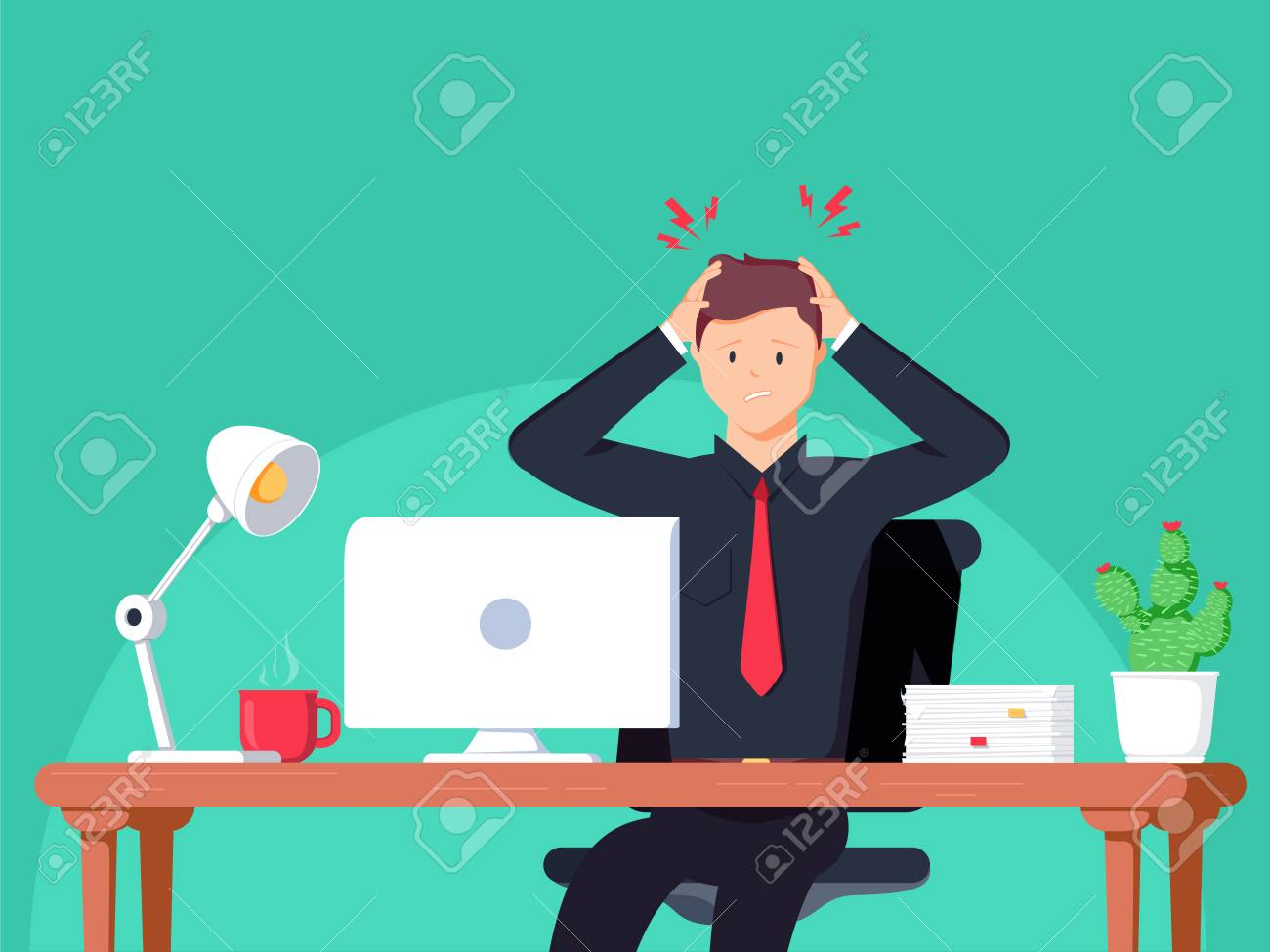 Businessman working in the office. Flat vector illustration in cartoon style. Man have headache on work space. Employment working hard for career growth. Adult life Healthcare concept. - 96971341