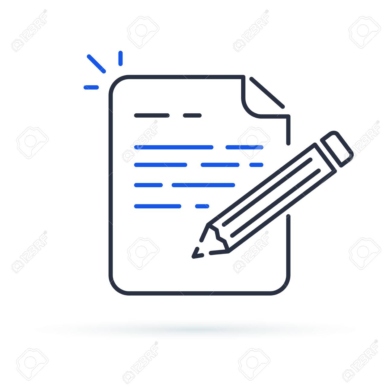 Contract terms and conditions. Document paper and creative writing or storytelling, business brief text, write summary for assignment vector line icon thin stroke illustration. - 97307784