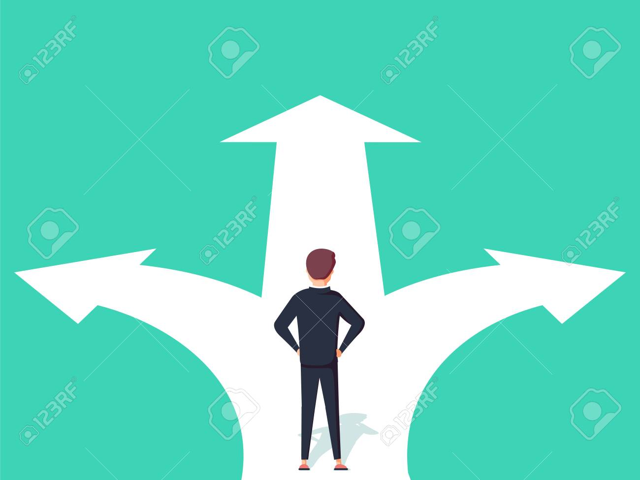 Business decision concept vector illustration. Businessman standing on the crossroads with two arrows and directions vector illustration. - 97934259