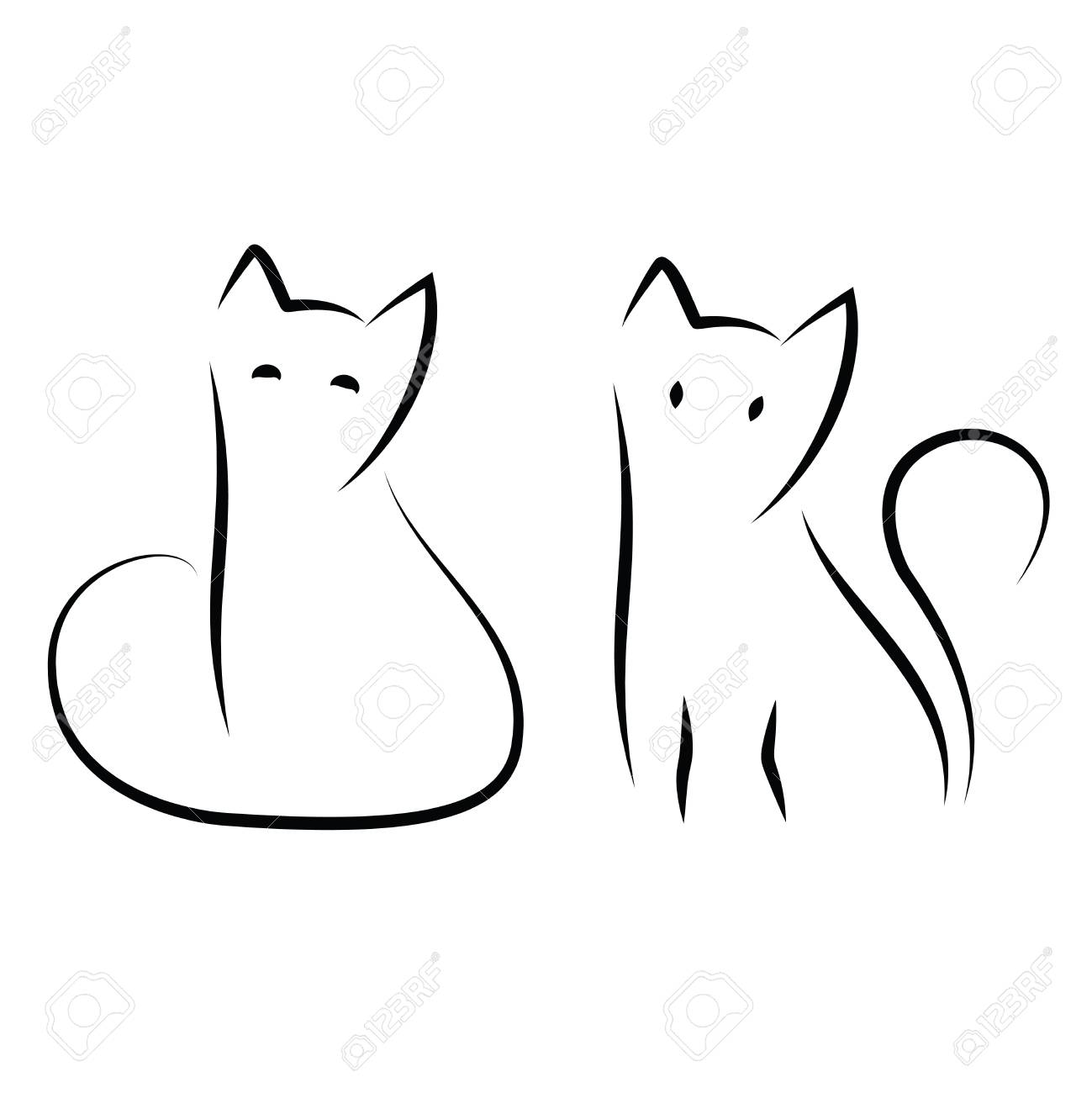 Simple and minimal cat ink drawing. Two sitting cats in traditional..