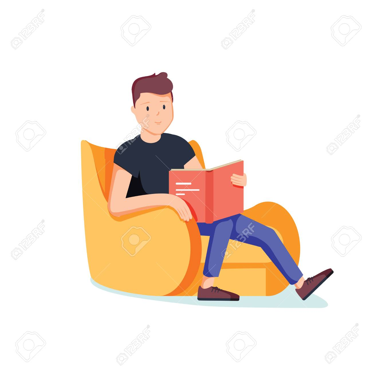 Caucasian white man relaxing with a book on the armchair. Young clever student reading a novel at home. Vector cartoon illustration isolated on white background. Square layout. - 100411707