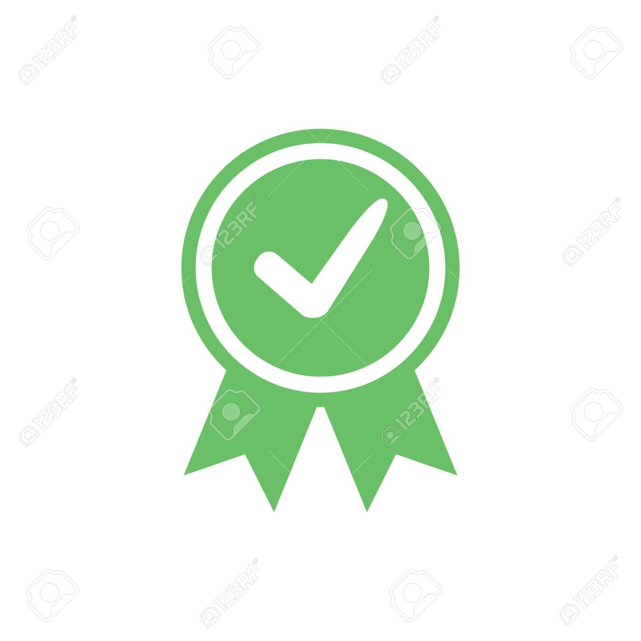 Approved certified icon. Certified seal icon. Accepted accreditation symbol with checkmark. Assurance or authorized - 132207294