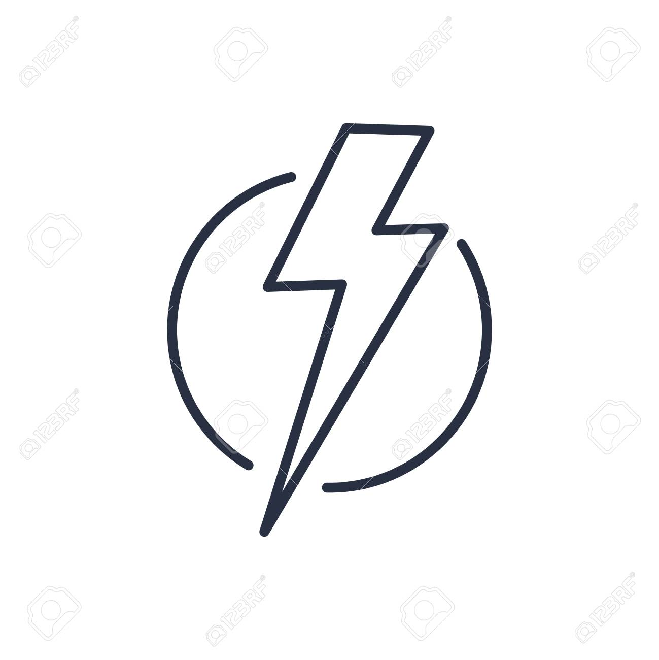 Thunder Strike In Circle Line Icon. Electric Lightning Bolt ...