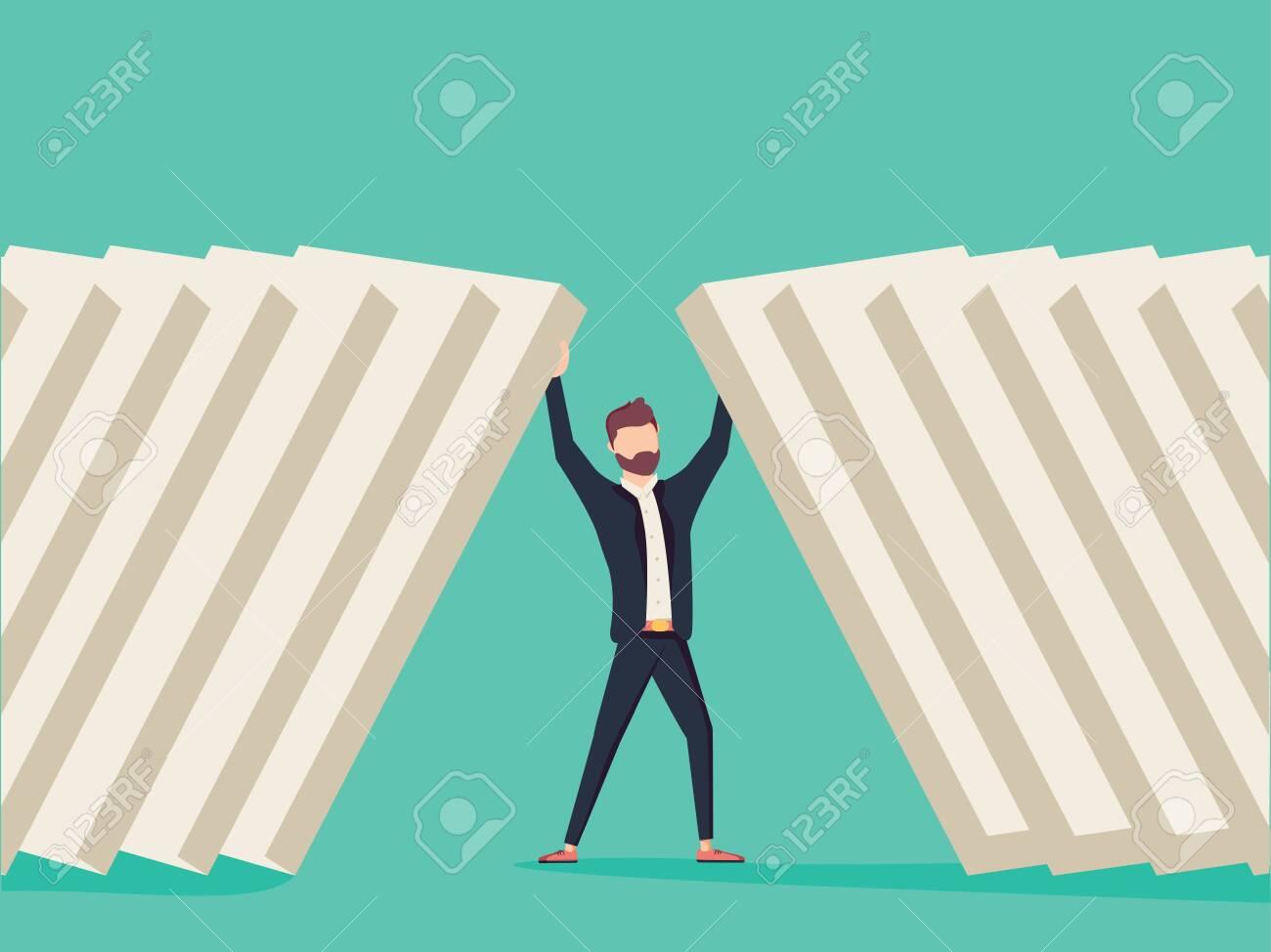 Businessman holding domino bricks. Symbol of determination, focus and business success. - 132302547