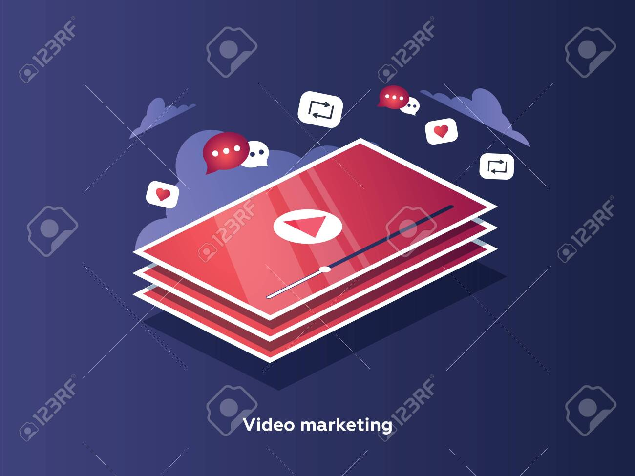 Video marketing concept. Tablet screen with an icon of video player and icons for mobile applications. - 132302552