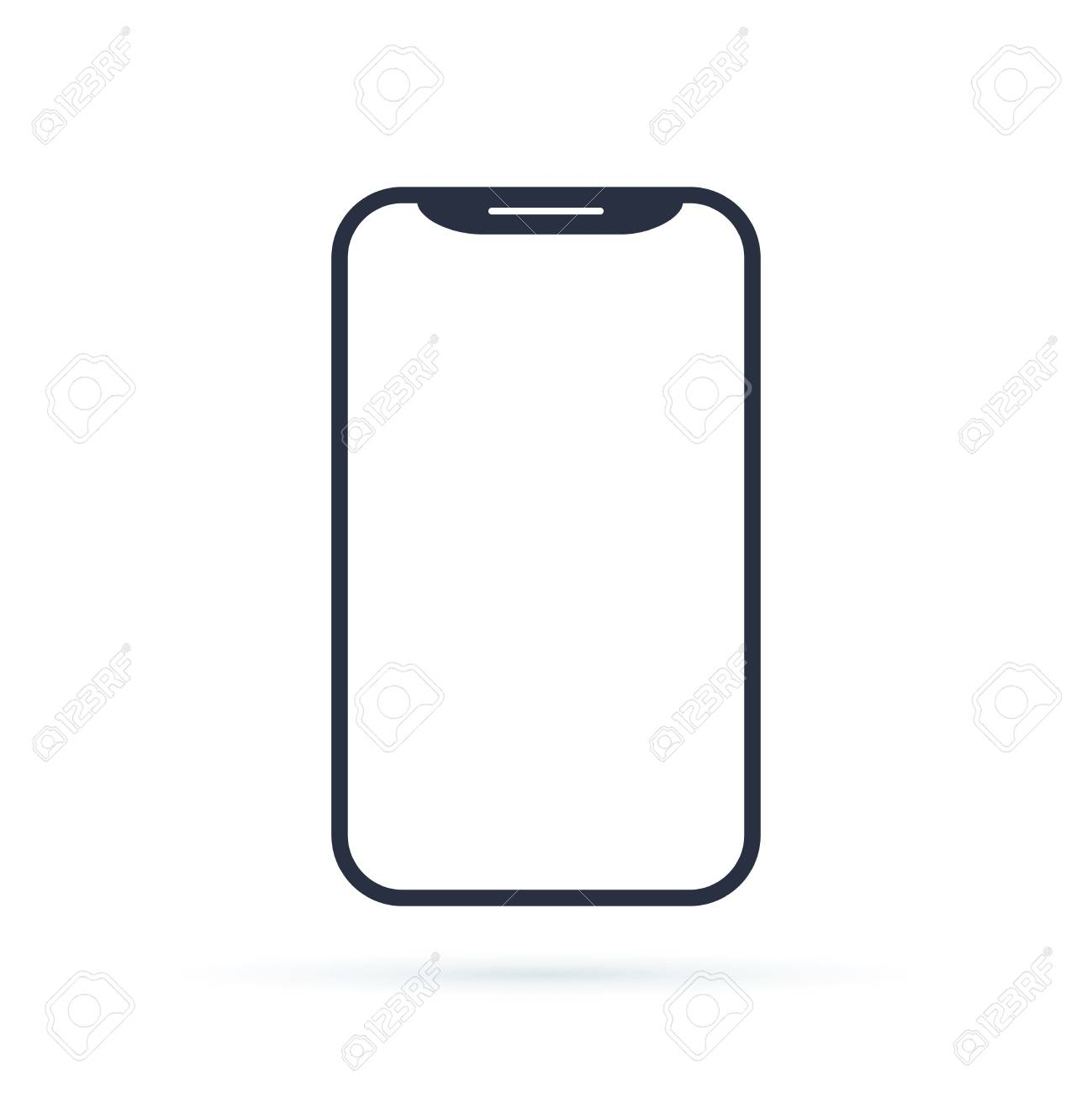 Mobile phone smartphone device gadget in line style on the white background. telephone icon. cellphone icon - 126506091
