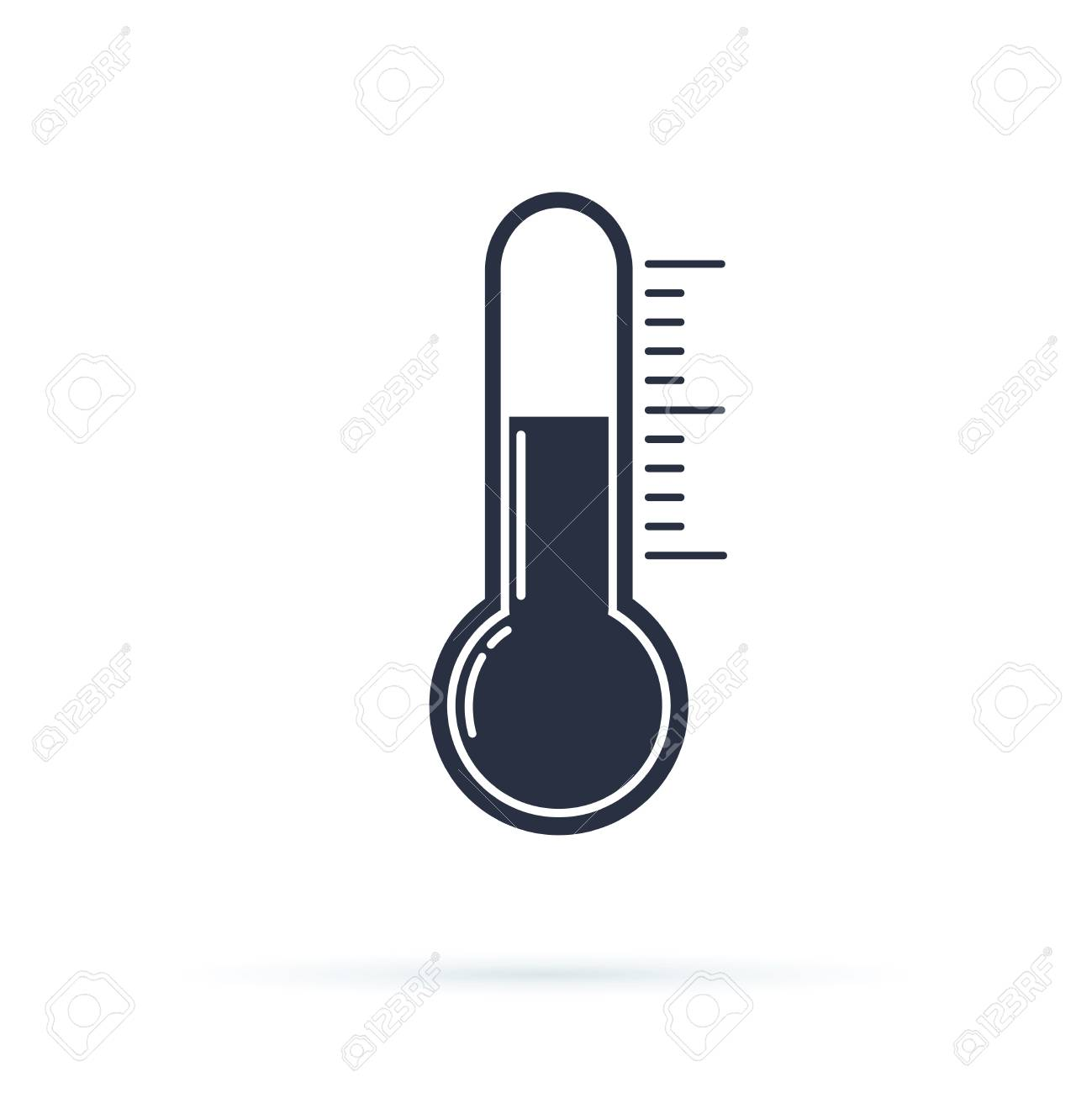 Thermometer flat vector icon. Temperature flat vector icon. Celsius or fahrenheit meteorology - 126506094