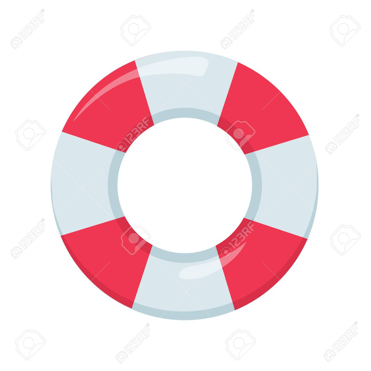 Red and White Ring Float. Beach buoy colorful symbol. Lifeguard device elemnt for emergency situation. - 126506096