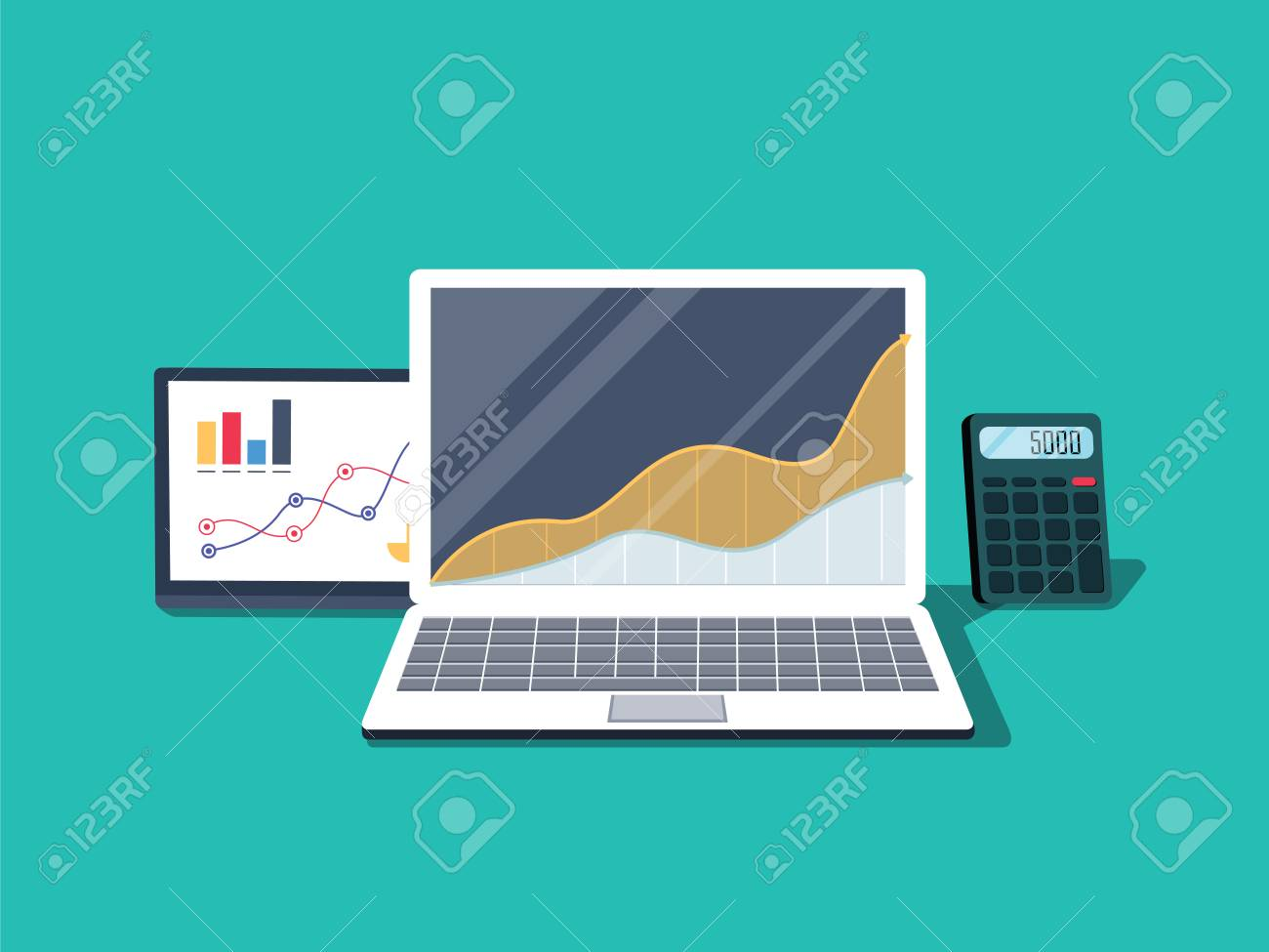 Flat illustration of office desktop electronic equipment. Business and school vector concept of laptop - 126506098