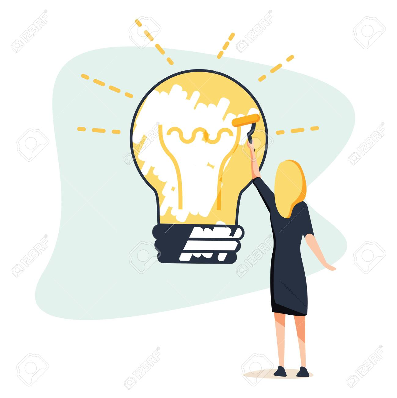Big idea concept. Business woman draws large light bulb on wall. Symbol of new discoveries and startap. Web template. - 132302553