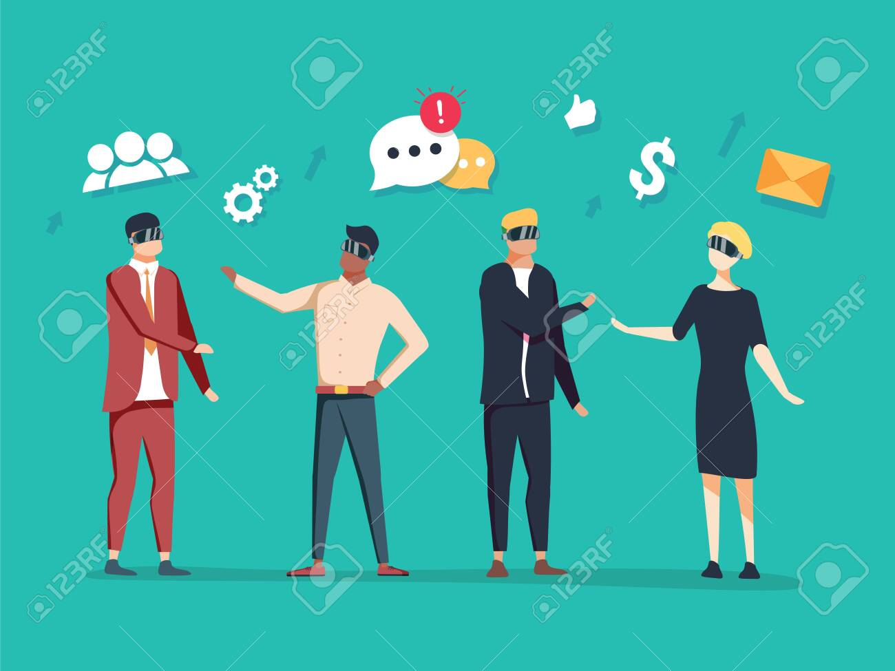 vector business illustration. communication of modern people with the help of innovative technologies - 132302554