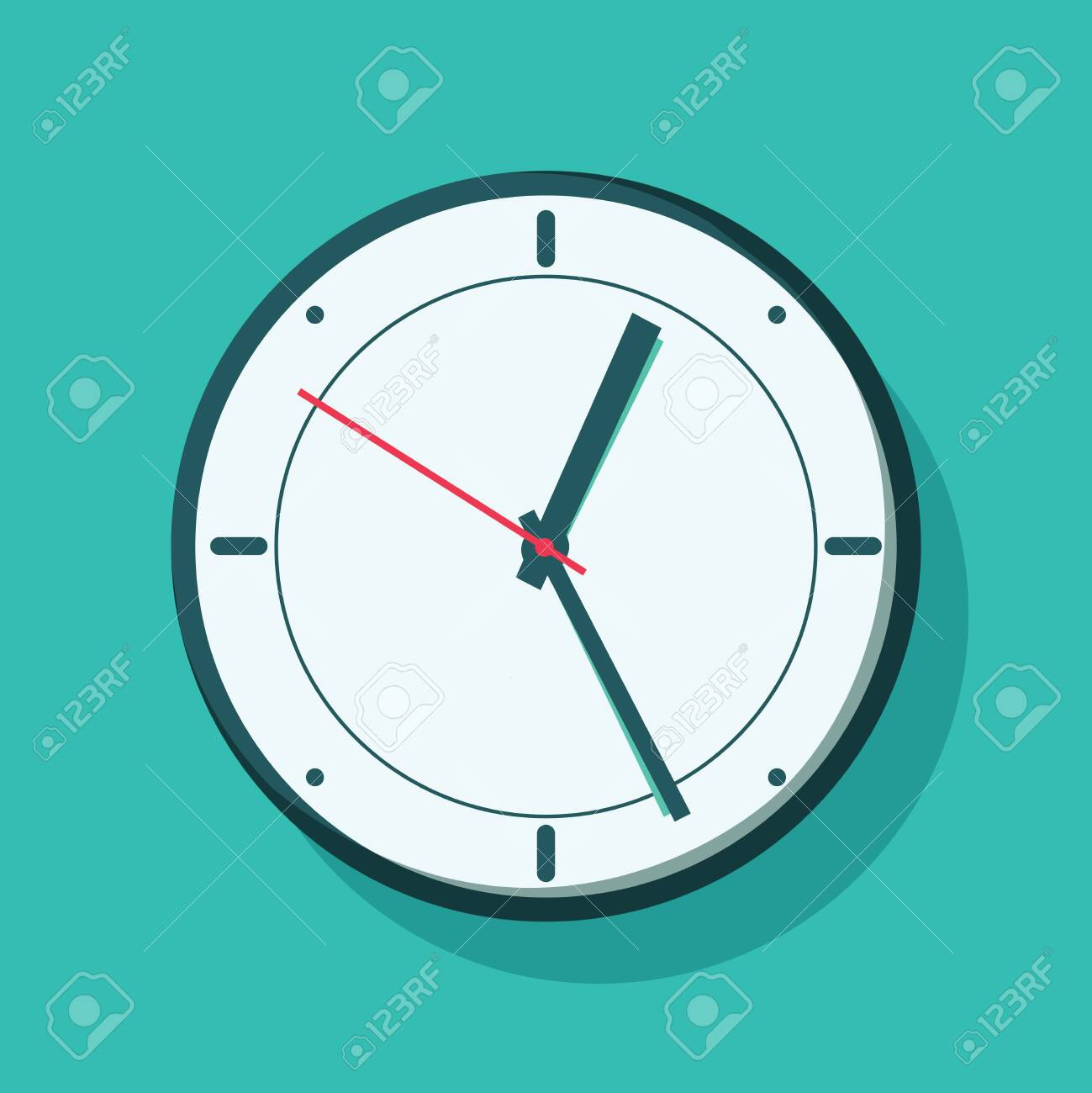 Clock hanging on wall. Vector illustration in flat style. Alarm or awake concept with clock on green background. - 132302557