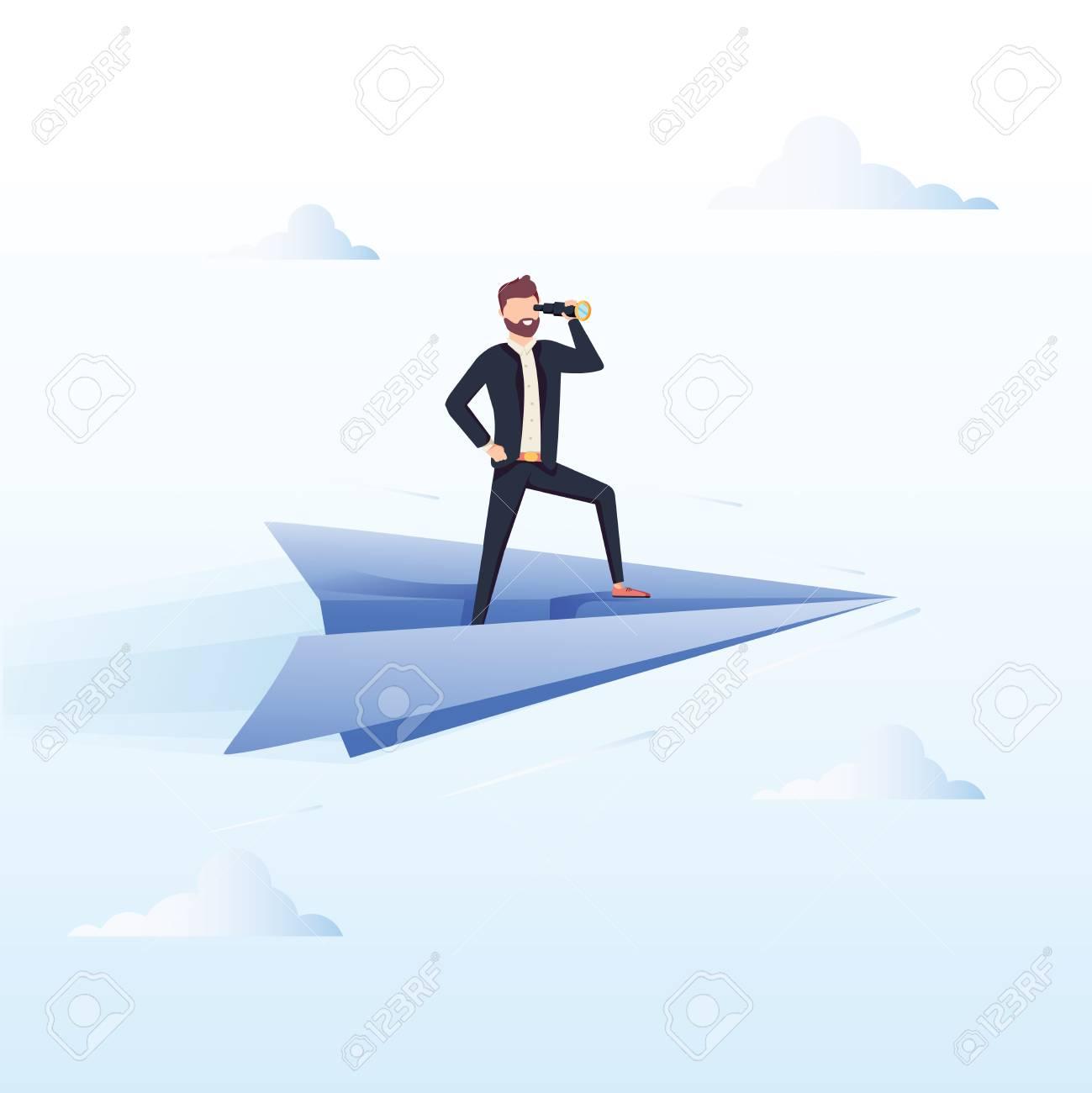 Ready to Fly. Business vector concept illustration. Winner business and achievement concept. Business success. Big trophy for businessmen. Ambition success, achievment motivation business background - 127716638