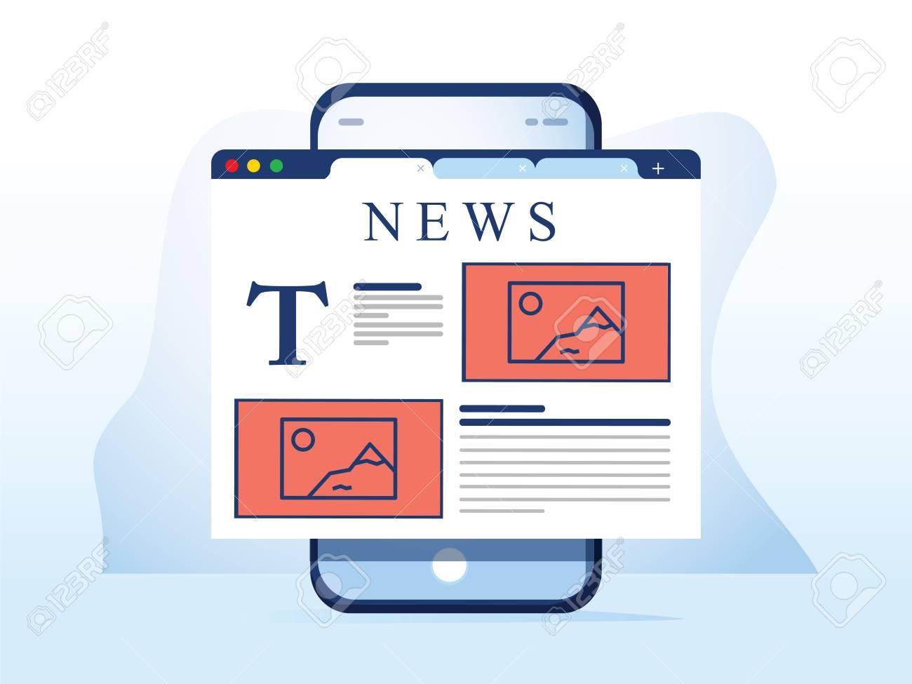 Reading news on smartphone. Online newspaper website opened in mobile browser on smart phone. News app, online media. Modern flat design. Vector illustration. Breaking news web design app on the phone - 127716639