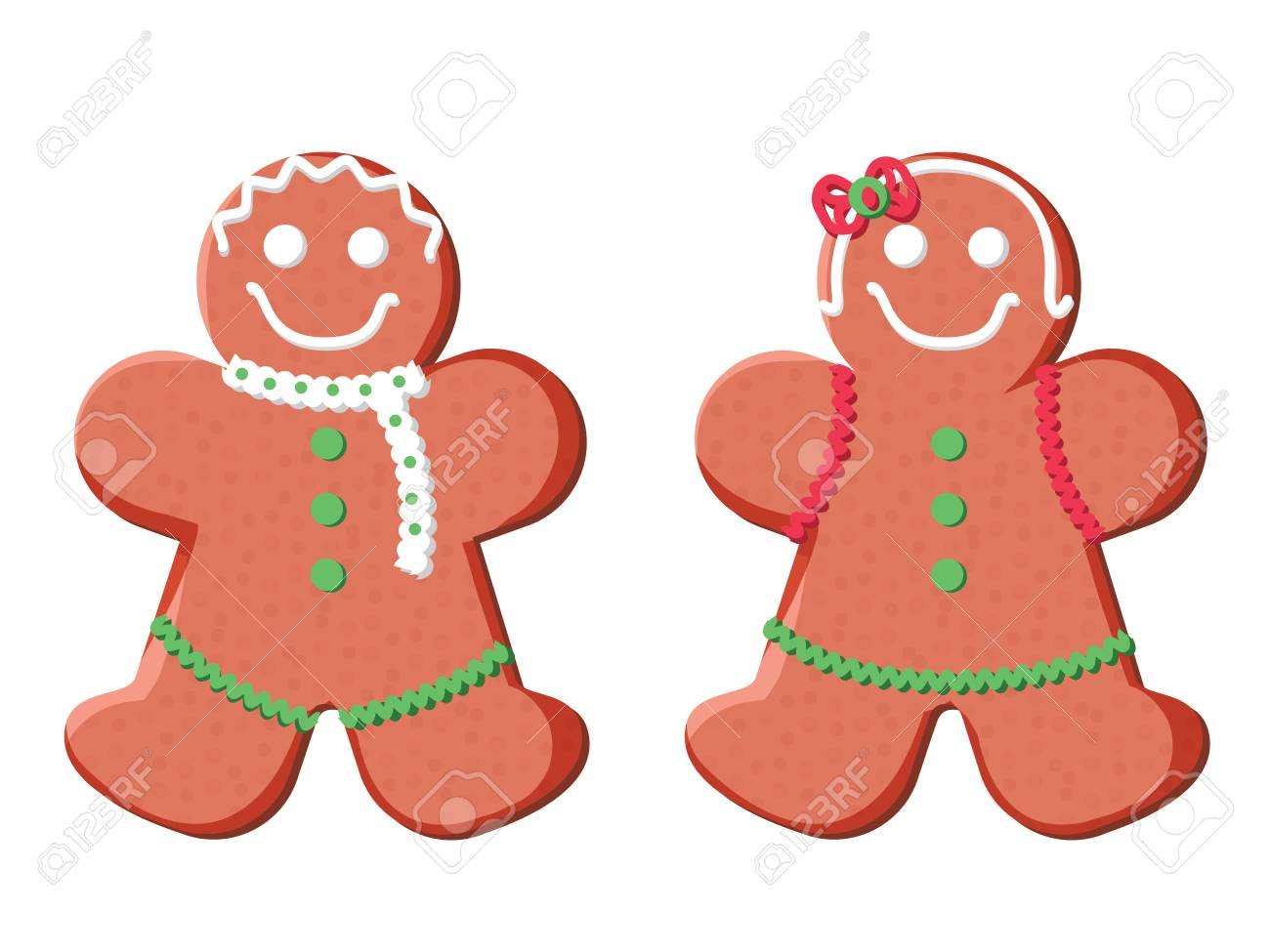 Holiday gingerbread man and woman cookie. Cookie in shape of man with colored icing. Happy new year decoration. Merry christmas holiday. New year xmas celebration. Vector illustration in flat style. - 127716641