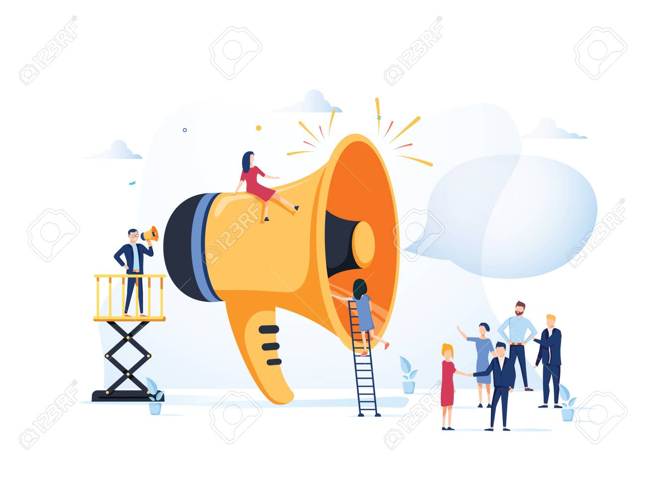 Business Advertising Promotion. Loudspeaker Talking to the Crowd. Big Megaphone and Flat People Characters Advertisement Marketing Concept. Vector illustration. Announcement business communication - 127716644