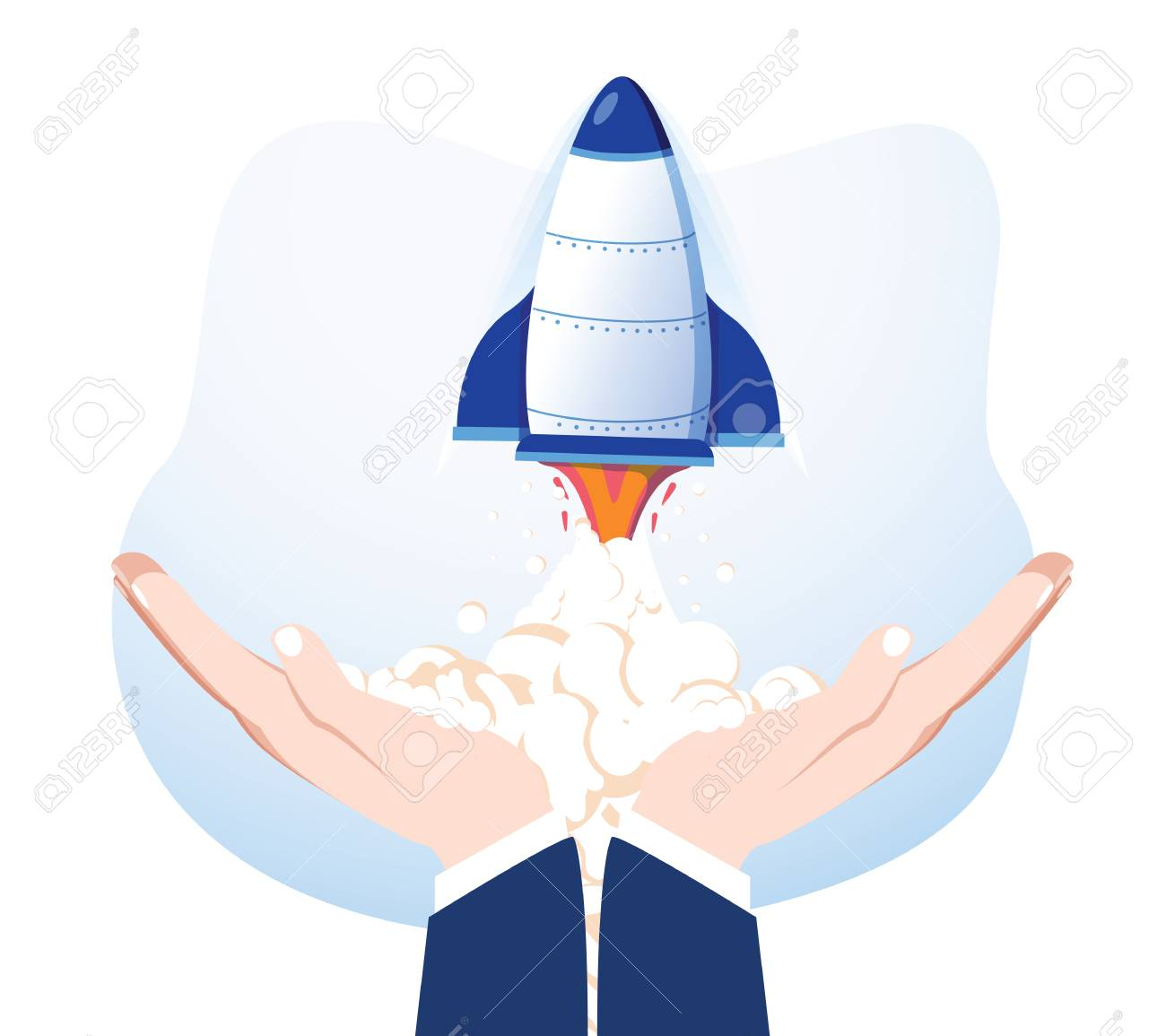 Rocket in hands isolated on background. Launch spaceship. Launching business product, project development. Start up, success concept. Vector flat cartoon design. Conceptual creative business success - 127716645