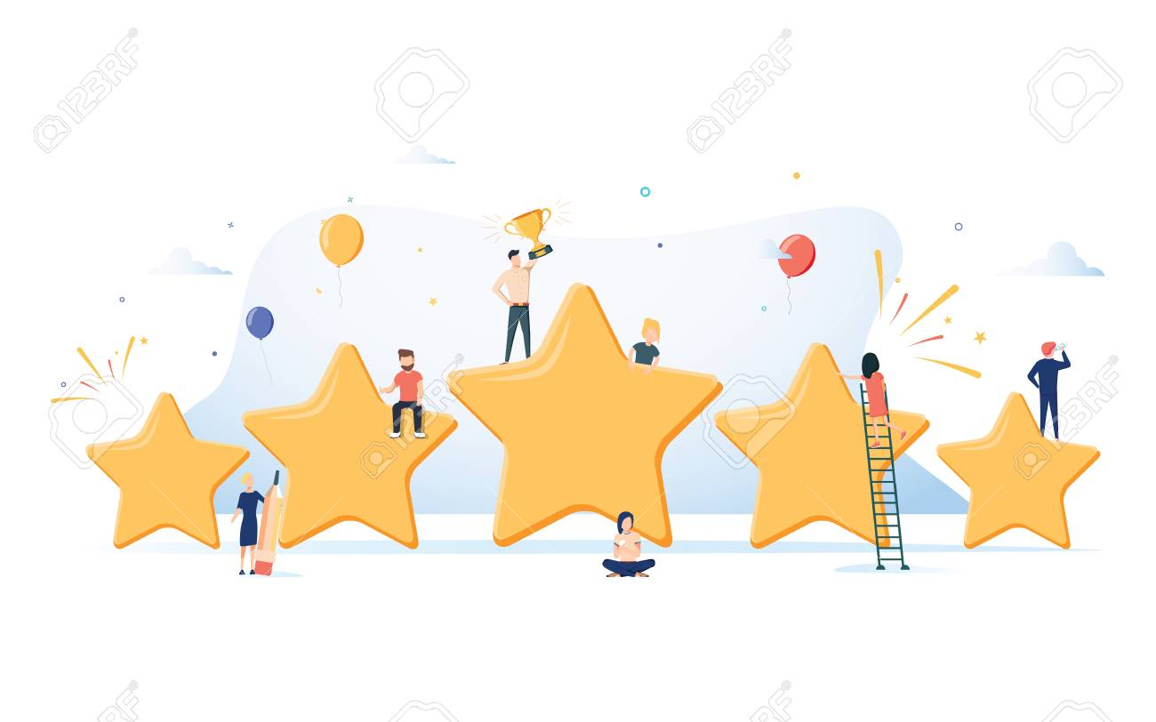Flat isometric vector concept of five stars, best rating, customer feedback, positive review. Winner award First place competition stars. Success reward vector. Business Success reviews from customers - 127716646