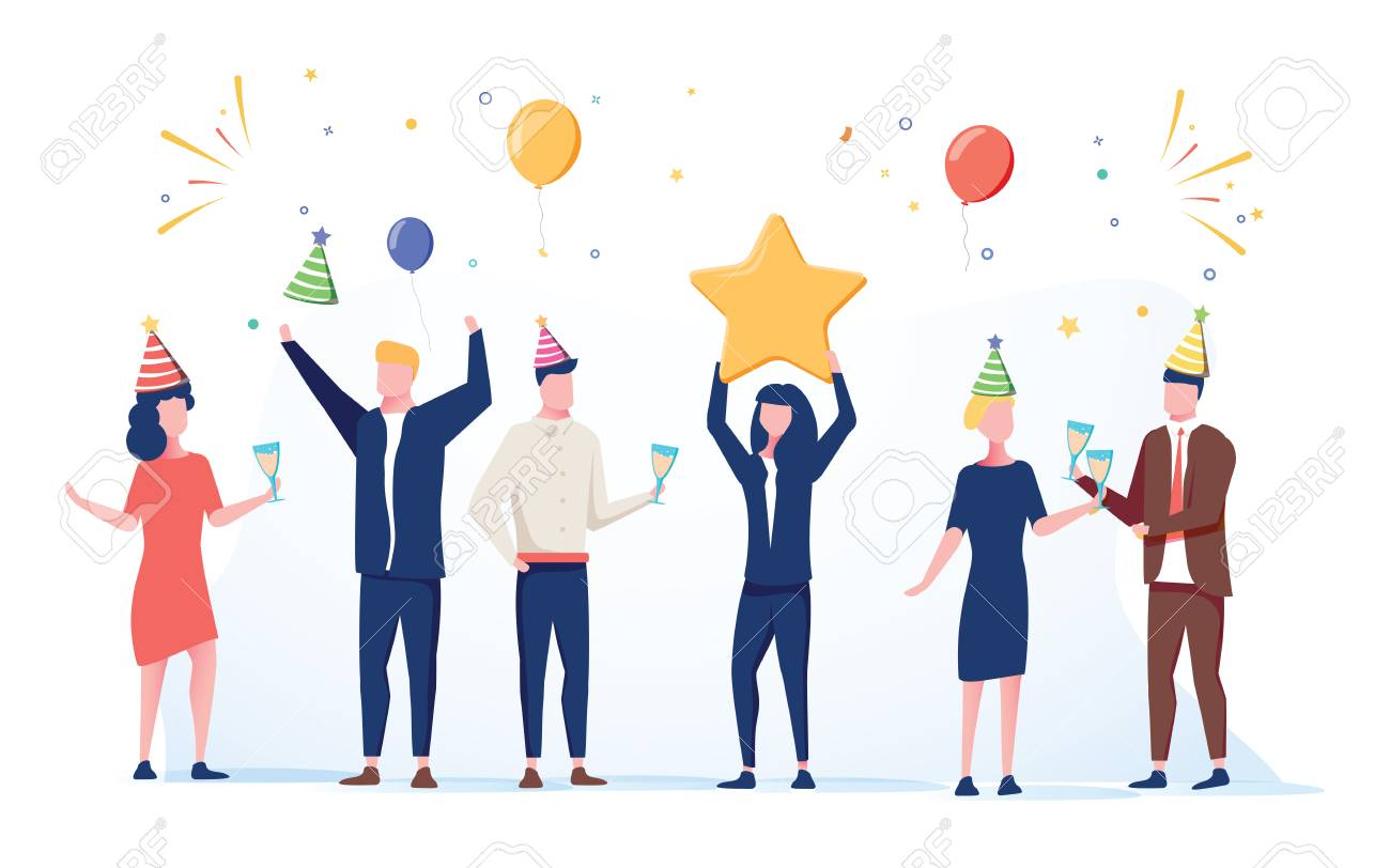 Cartoon happy little people. Cute miniature scene of workers preparing for celebration. Modern cartoon vector illustration. Work holiday 2019 businessman and woman celebrating. Cheerful company - 127509564