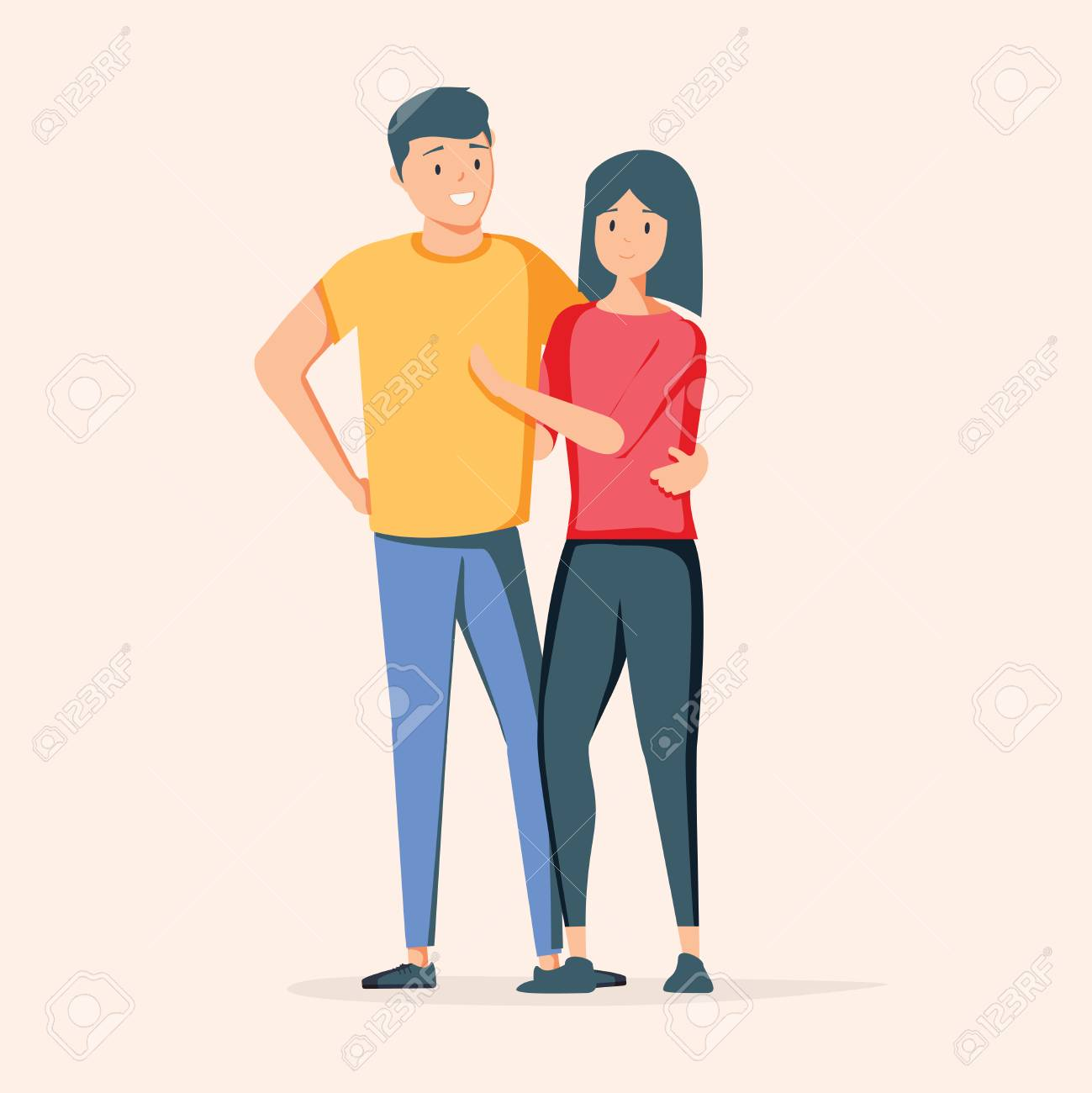 Asian couple over isolated background. Happy man and woman together. Vector illustration in cartoon style. Romantic illustration of asian lovely couple characters smiling. Dating app concept network - 127509566