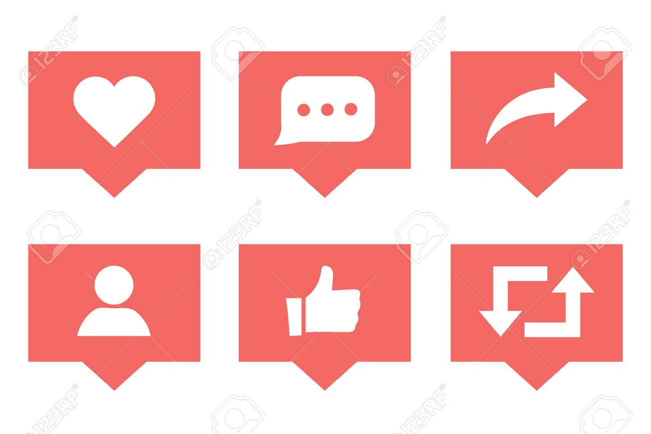 Social media set notifications icons like follower and comment with share icons. Vector illustration. Social media marketing illustrations. SMM business symbols for presentation or website interface. - 127315463